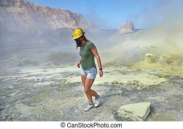 branca, ilha, vulcão, excursão