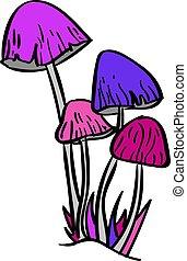 branca, ilustração, cogumelos, vetorial, experiência.