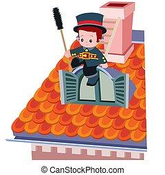 branca, ilustração, varredura, vermelho, sentando, cute, fundo, azulejo, chaminé, vetorial, telhado, isolado, caricatura, objeto