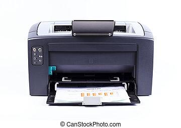 branca, impressora, fundo, isolado, contra