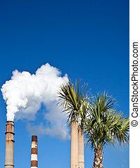branca, industrial, smokestack, fumaça, saída