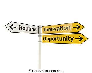 branca, inovação, isolado, sinal estrada