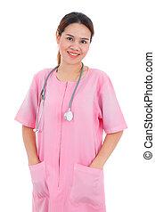 branca, isolado, asiático, fundo, sorrindo, enfermeira