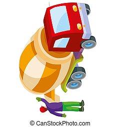 branca, isolado, caricatura, objeto, misturador concreto, despeje, concreto, saída, preparado, trabalhador, fundo, ajudando, construção, ilustração, vetorial