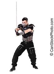 branca, isolado, espada, homem