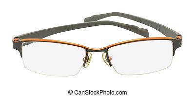 branca, isolado, fundo, óculos