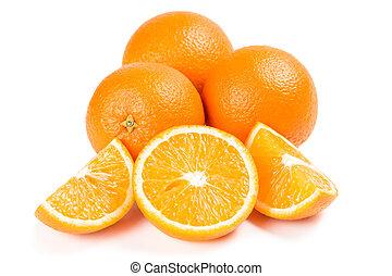 branca, isolado, laranjas