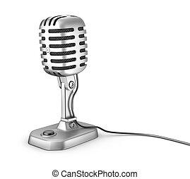 branca, isolado, microphone., retro