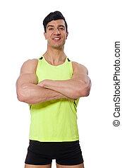 branca, isolado, muscular, homem