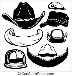 branca, isolado, -, pretas, vetorial, jogo, fundo, gângster, chapéus
