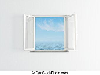 branca, janela aberta