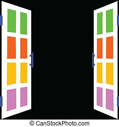 branca, janela, com, experiência preta