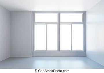 branca, janela, quarto vazio