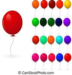 branca, jogo, balões, coloridos