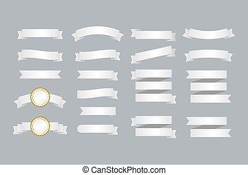 branca, jogo, banners., illustration., fitas, vetorial, ribbons.