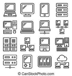 branca, jogo, experiência., estilo, hardware, computador, vetorial, linha, ícones