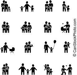 branca, jogo, família preta, ícones
