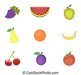 branca, jogo, fundo, frutas