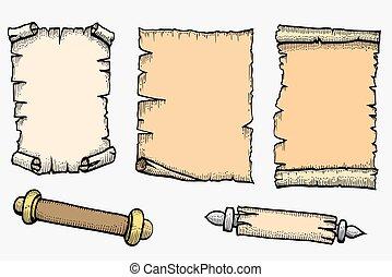 branca, jogo, isolado, fundo, scroll