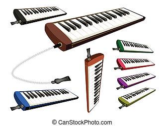 branca, jogo, melodica, musical, fundo