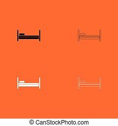 branca, jogo, pretas, cama, ícone