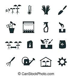 branca, jogo, pretas, seedling, ícones