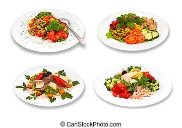 branca, jogo, saladas, fundo