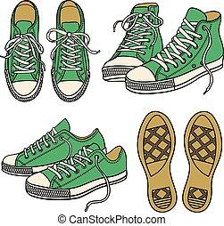branca, jogo, sneakers, isolado