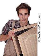 branca, jovem, fundo, carpinteiro