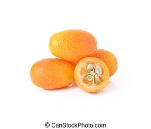 branca, kumquat, isolado, fundo, frutas