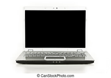 branca, laptop/notebook, computador, isolado