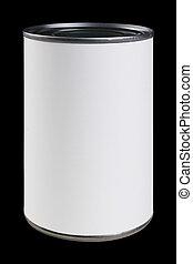 branca, lata, etiqueta, com, caminho cortante