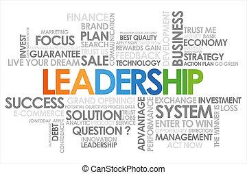 branca, liderança, palavra, nuvem, fundo