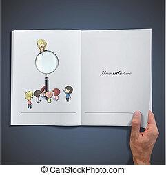 branca, livro, abertos, crianças