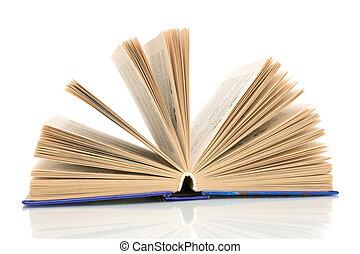 branca, livro, closeup, fundo