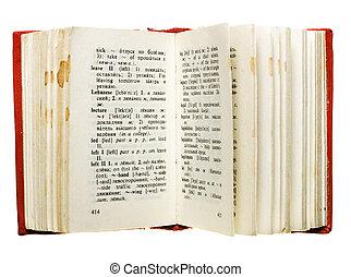 branca, livro, isolado, fundo