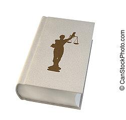branca, livro, isolado, fundo, lei