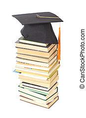 branca, livros, chapéu, isolado, graduação