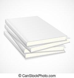 branca, livros, cobertura, pilha, vazio