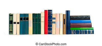branca, livros, fundo, fila