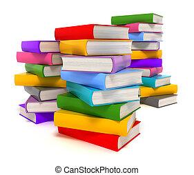 branca, livros, isolado
