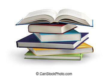 branca, livros, isolado, fundo, pilha