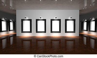 branca, lona, ligado, parede, de, a, galeria