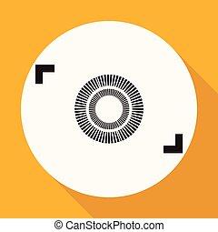 branca, longo, câmera, círculo, sombra, ícone