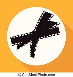 branca, longo, sombra, círculo, película, ícone