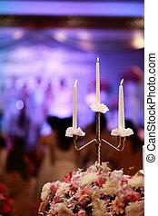 branca, luz vela, decoração, em, dia casamento