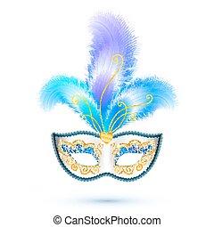 branca, máscara carnaval, com, penas azuis, e, dourado,...
