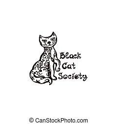 branca, mão, gato, fundo, desenhado, dia das bruxas, frase, isolado