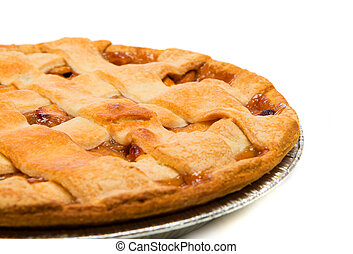 branca, maçã, fundo, torta