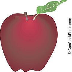 branca, maçã, vermelho, isolado